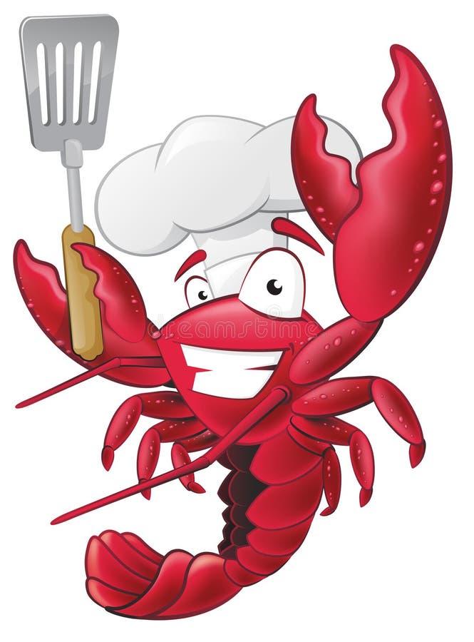Chef mignon Character de homard tenant une spatule illustration de vecteur