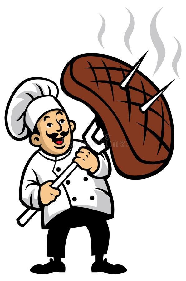 Chef mit einem Stück Steak stock abbildung