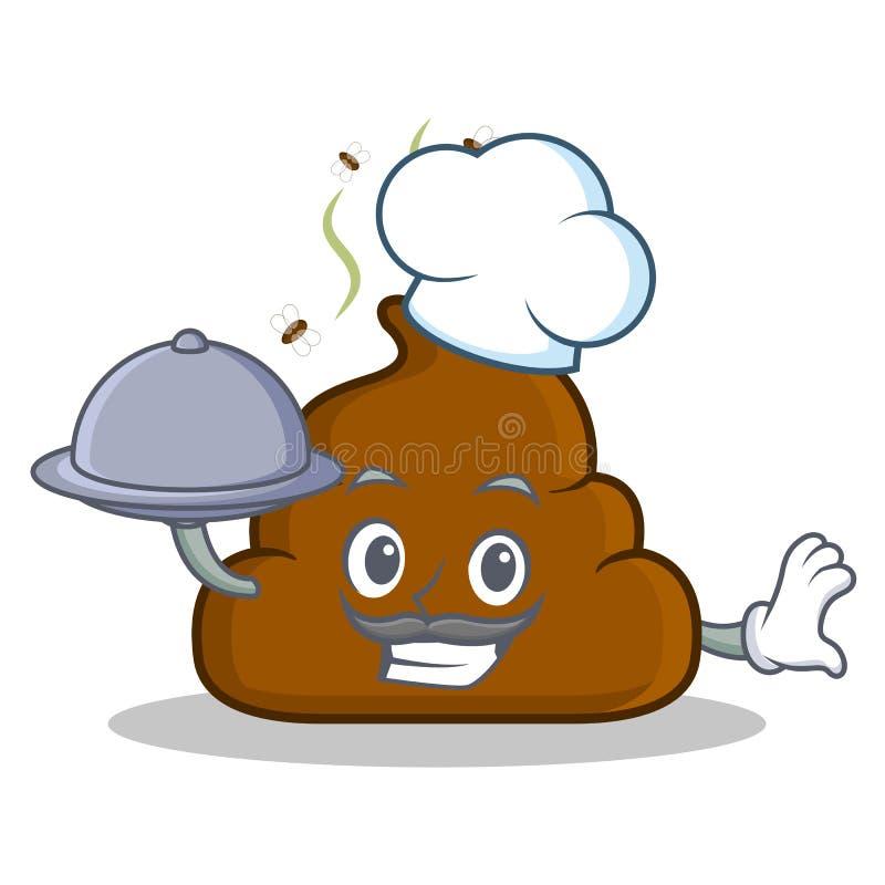 Chef mit Lebensmittel Heck Emoticon-Charakterkarikatur lizenzfreie abbildung