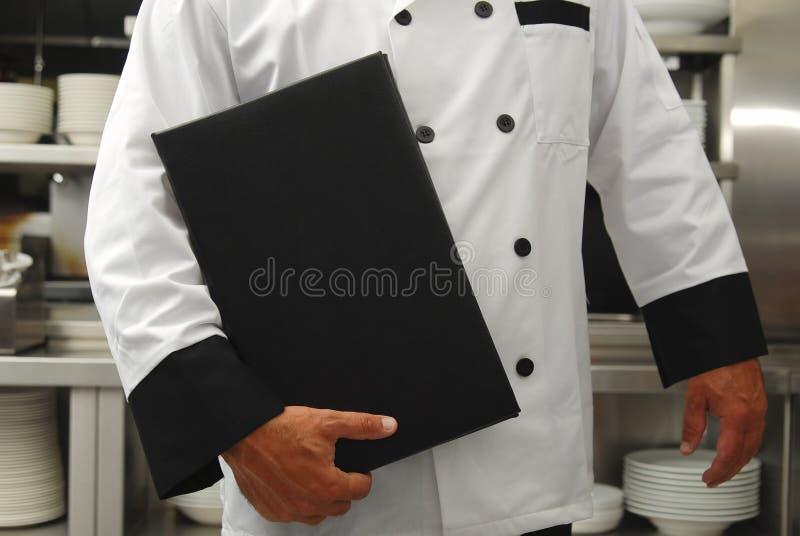 Chef mit Menü stockbilder