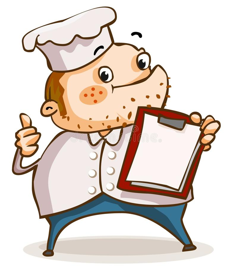 Chef mit Menü in der Gaststätte. stock abbildung