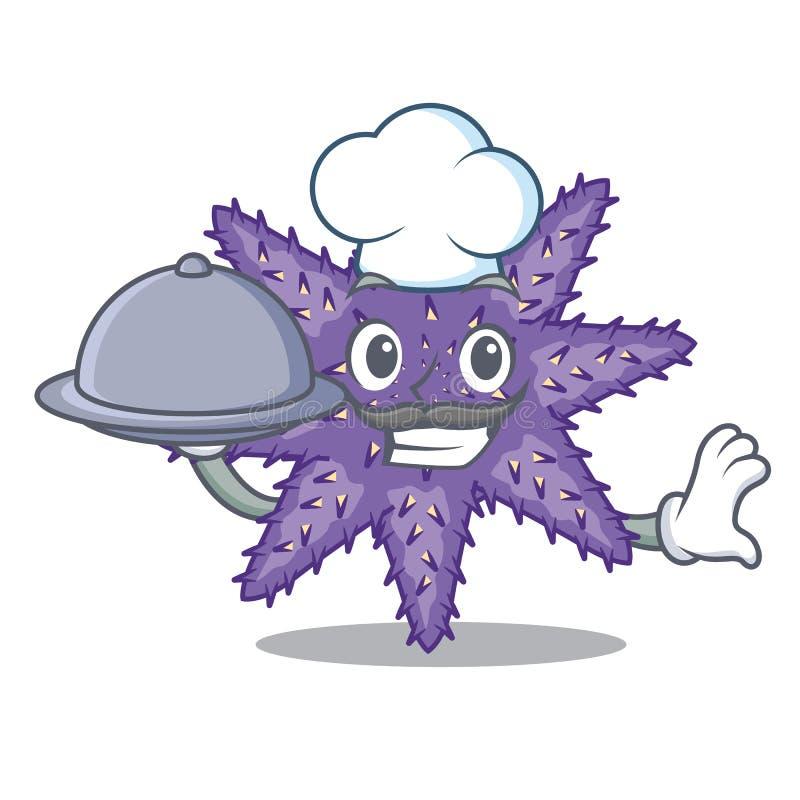 Chef mit Nahrungpurpurroten Starfish in der Zeichenform stock abbildung