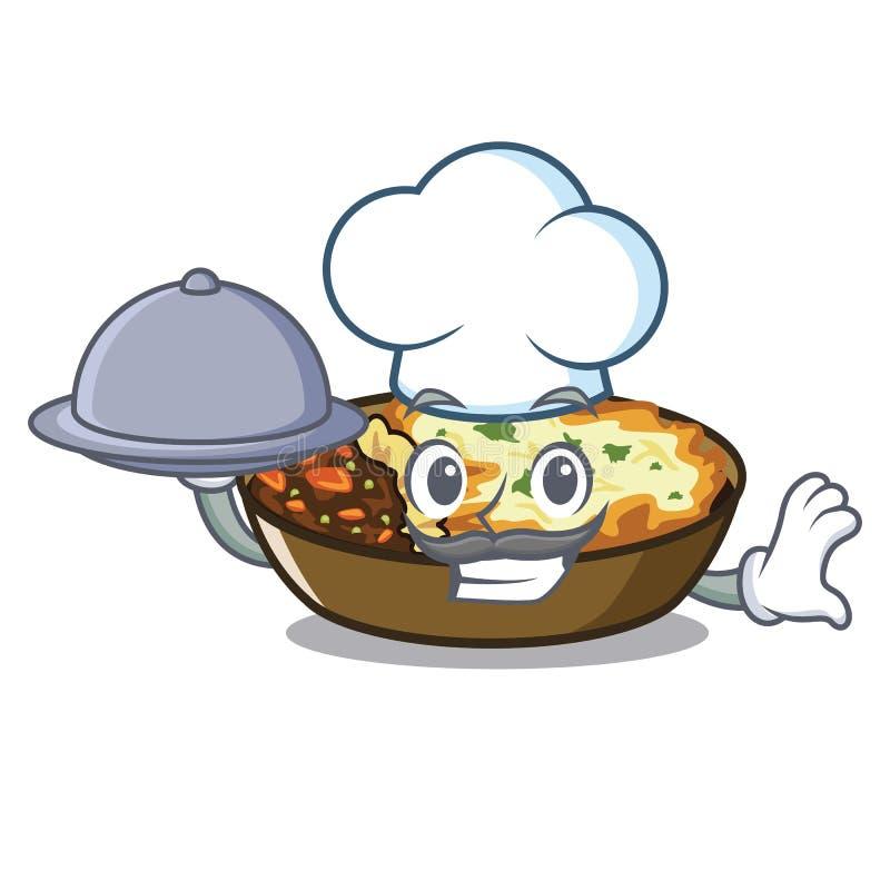 Chef mit Nahrungsmittelgratin in der a-Maskottchenform stock abbildung