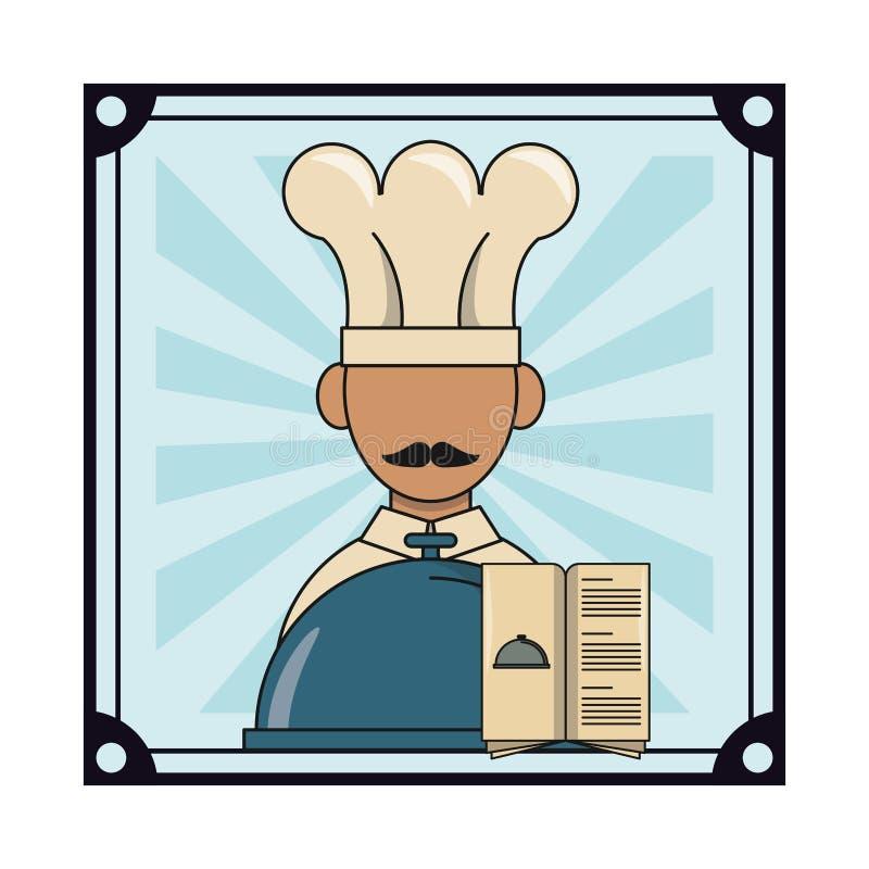 Chef mit Restaurantmenü stock abbildung