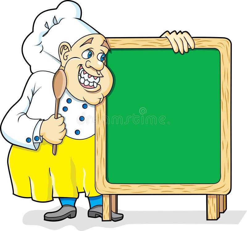 Chef mit Tafel stock abbildung