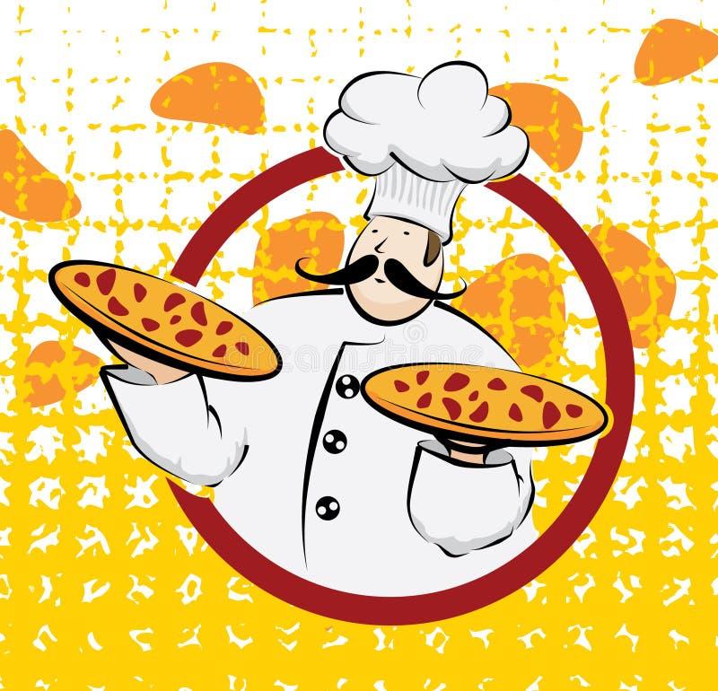 Chef mit zwei Pizzas lizenzfreie abbildung