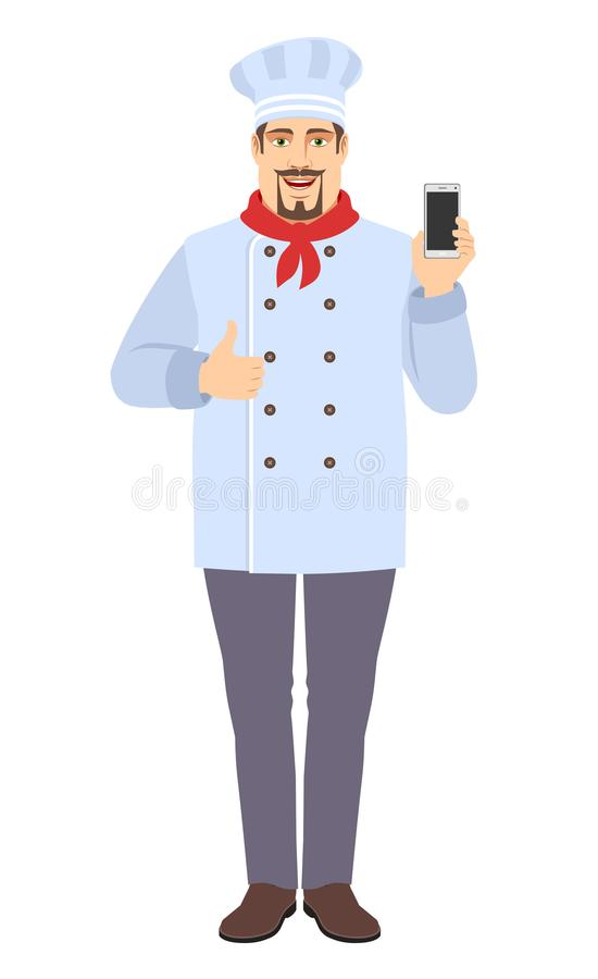 Chef with mobile phone showing thumb up stock photography
