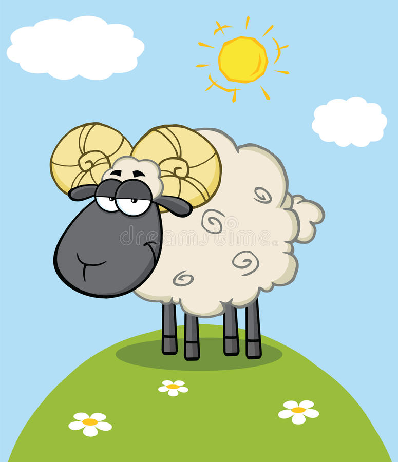 Chef noir mignon Ram Sheep Cartoon Character On une colline illustration libre de droits