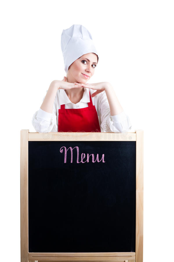 Chef Offer New Menu Stock Image