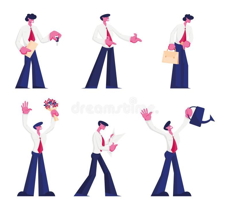 Chef, Office-medarbetare eller affärsmässig arbetsuppsättning Ung man i White Shirt och Tie i olika situationer stock illustrationer