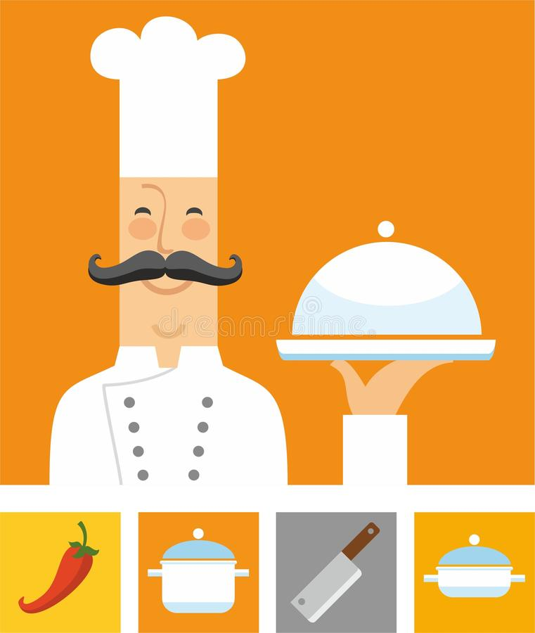 Chef, orange and colored flat icons. A coloured flat image of the chef and the four colored icons with the attributes of the restaurant and kitchen. For vector illustration