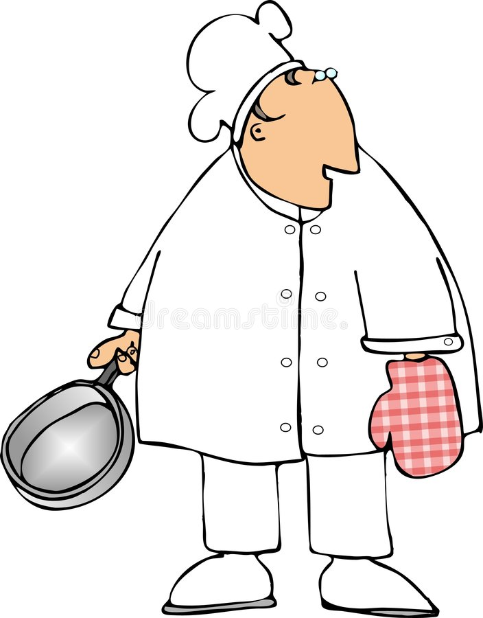Chef with an oven mitt stock illustration