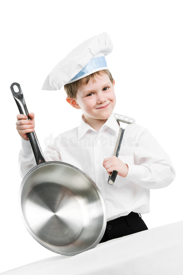 Download Chef With Pan And Trowel Isolated Stock Photo - Image: 19064042