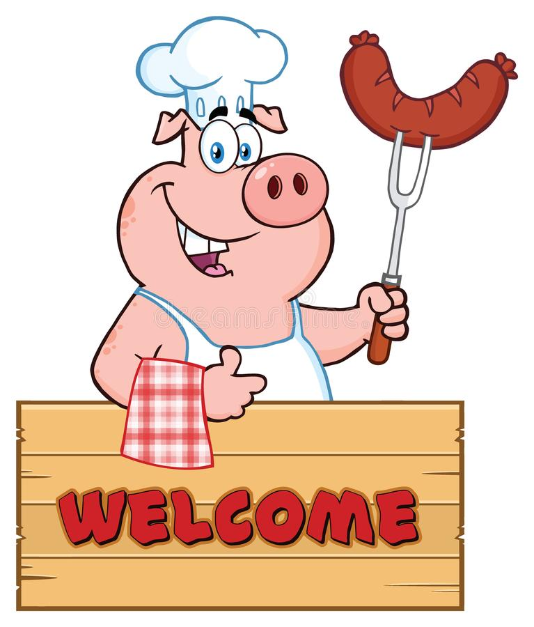 Chef Pig Cartoon Mascot Character Holding A Sausage On A Bbq Fork Over A Wooden Sign Giving A Thumb Up. Illustration Isolated On White Background With Text vector illustration