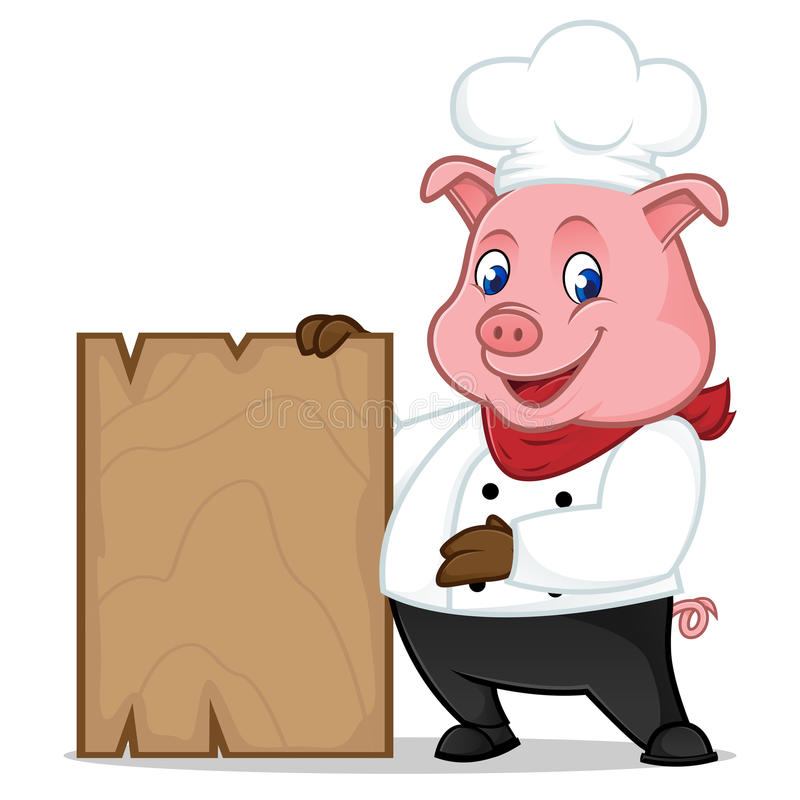 Free Chef Pig Cartoon Mascot Holding Wooden Plank Stock Images - 96725234