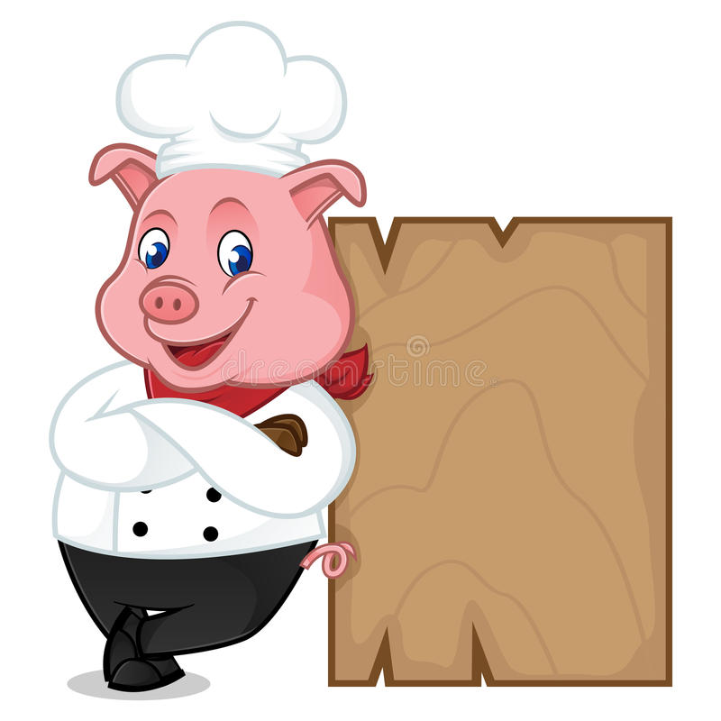 Free Chef Pig Cartoon Mascot Leaning On Wooden Plank Stock Image - 96725131