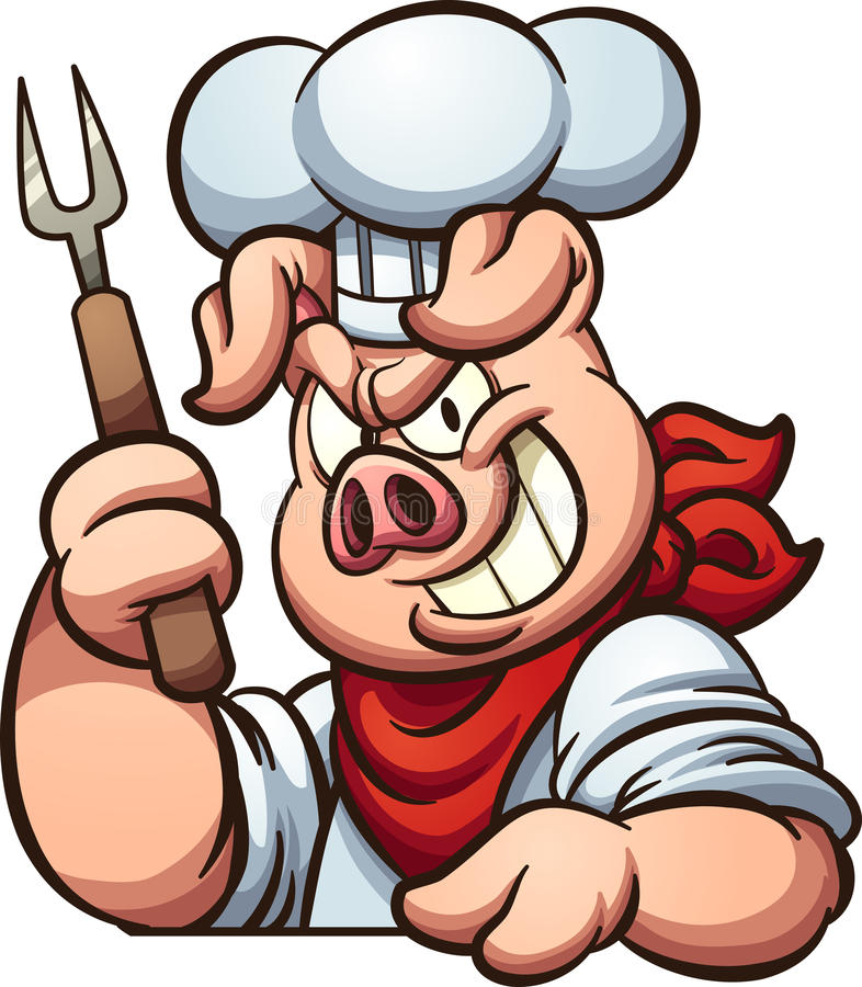 Chef pig. With evil smile. Vector clip art illustration with simple gradients. All in a single layer royalty free illustration