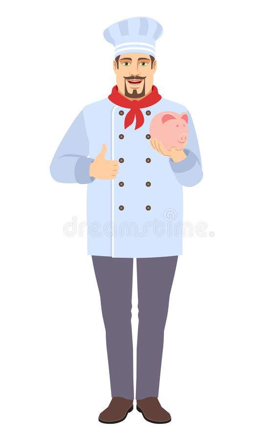 Chef with piggy bank showing thumb up stock image