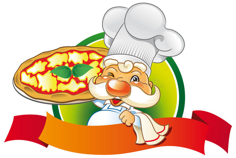 Chef pizza royalty free illustration