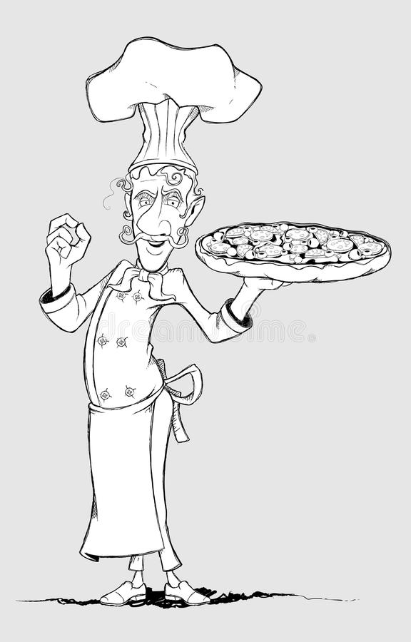 Download Chef With Pizza In His Hand. Freehand Drawing Stock Vector - Illustration of chef, cook: 38383502