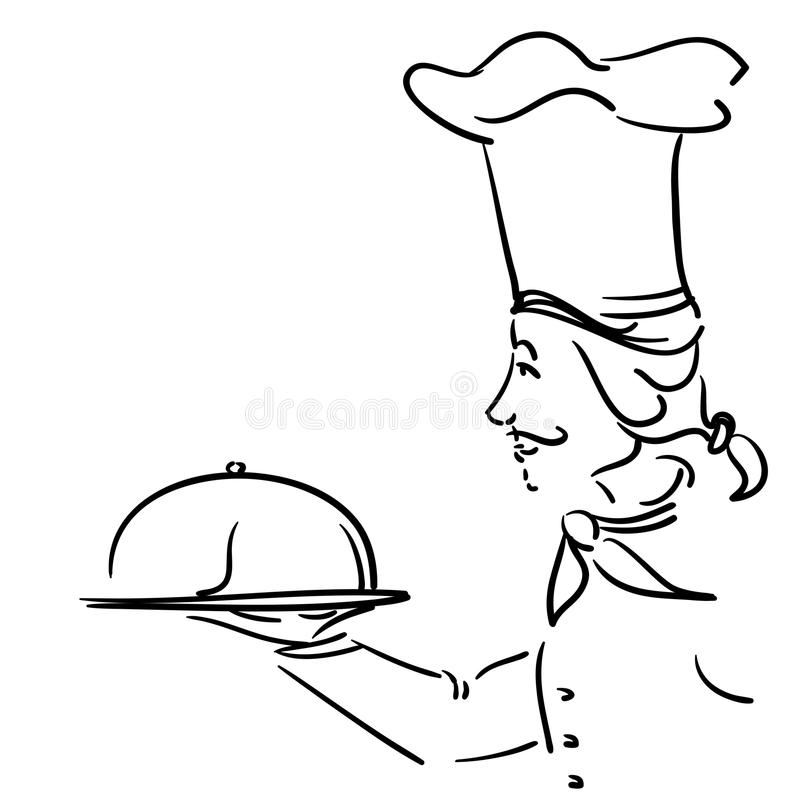 Chef with plate stock illustration