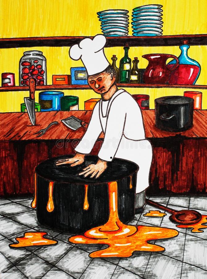 Download Chef and pot stock illustration. Image of holding, yellow - 9833122
