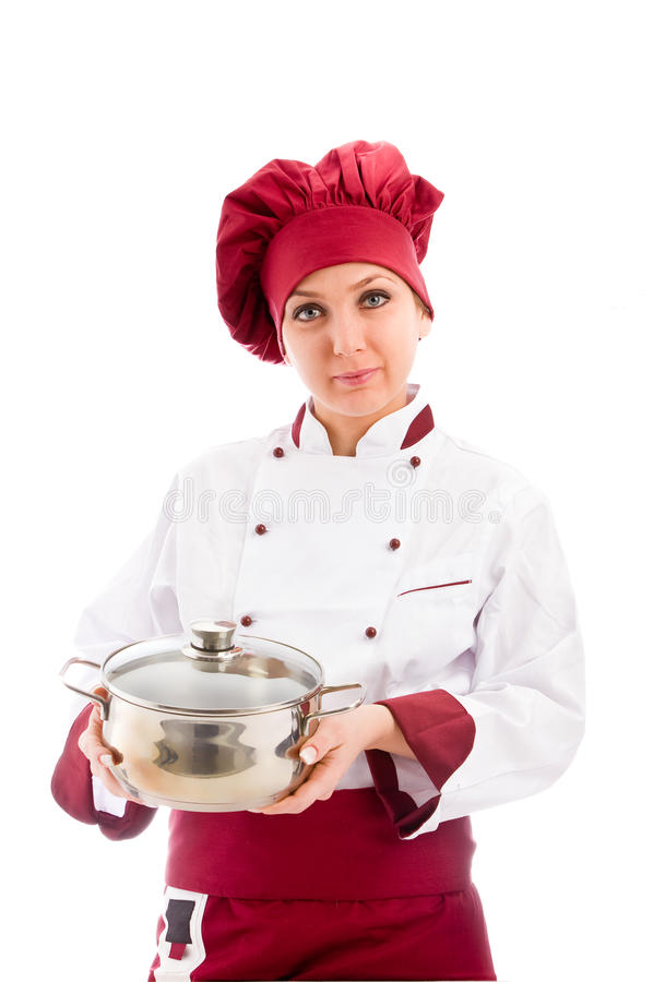 Download Chef with pot in her hands stock photo. Image of color - 21645692