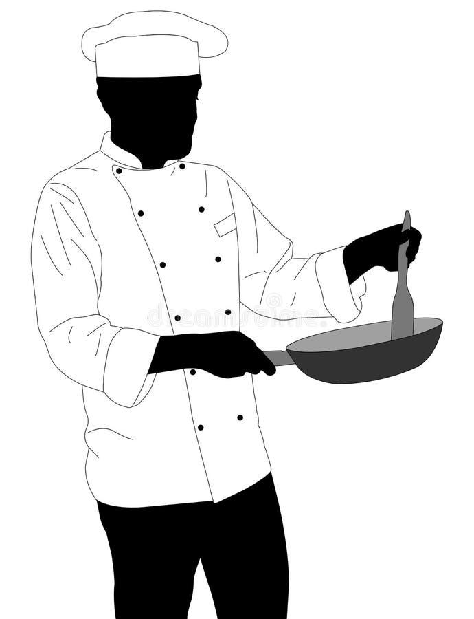 Chef préparant la nourriture en silhouette de poêle illustration de vecteur