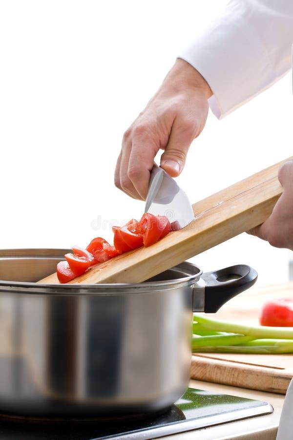 Chef préparant le repas image libre de droits