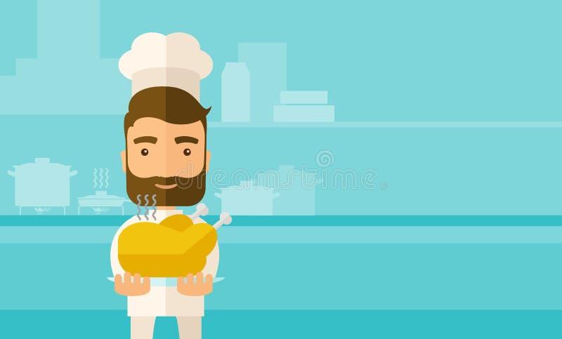 Chef présent une dinde cuite savoureuse illustration de vecteur