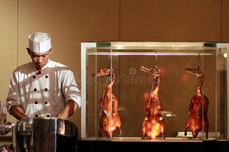 Chef prepare chinese duck stock photography