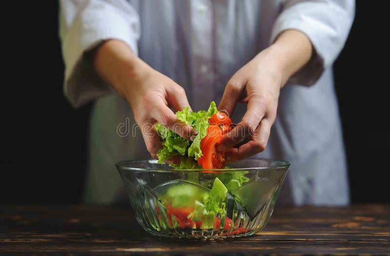 The chef prepares a salad of vegetables stock image