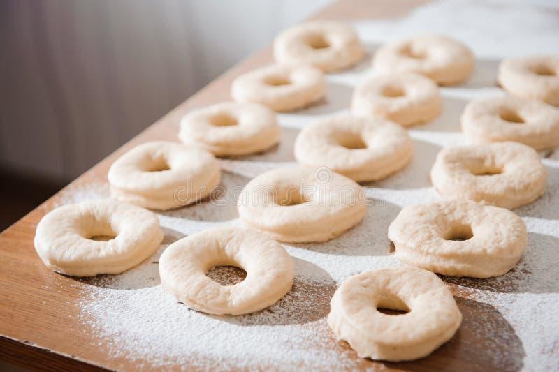 Chef preparing dough - cooking donuts process, work with flour. Chef preparing dough - cooking donuts process stock photos