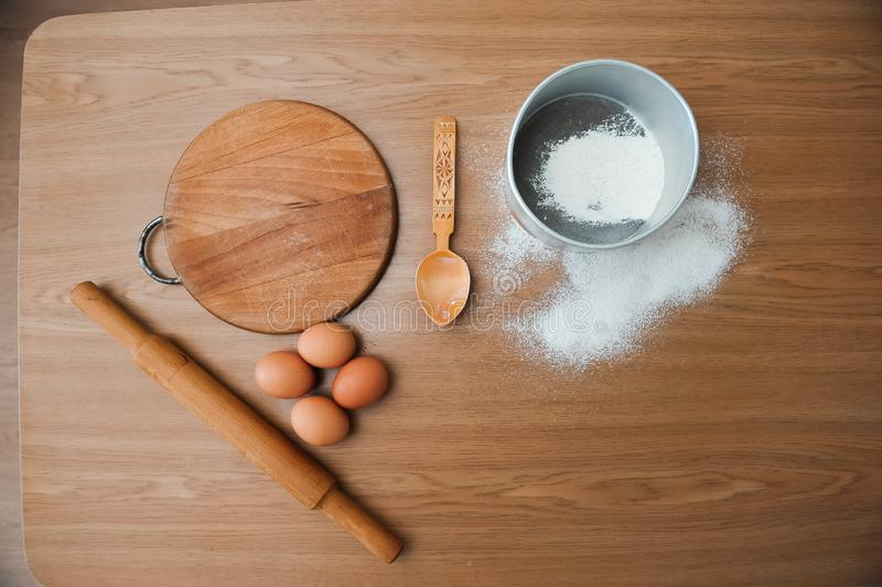Chef preparing dough - cooking process, work with flour. Chef preparing dough - cooking process stock photos
