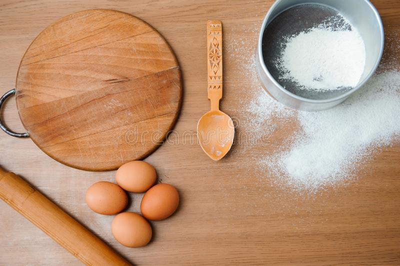 Chef preparing dough - cooking process, work with flour.  stock image