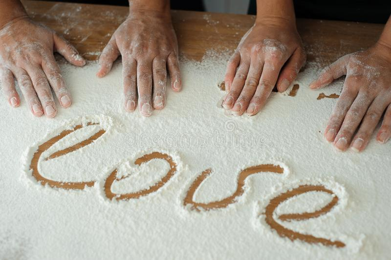 Chef preparing dough - cooking process, work with flour.  royalty free stock photos