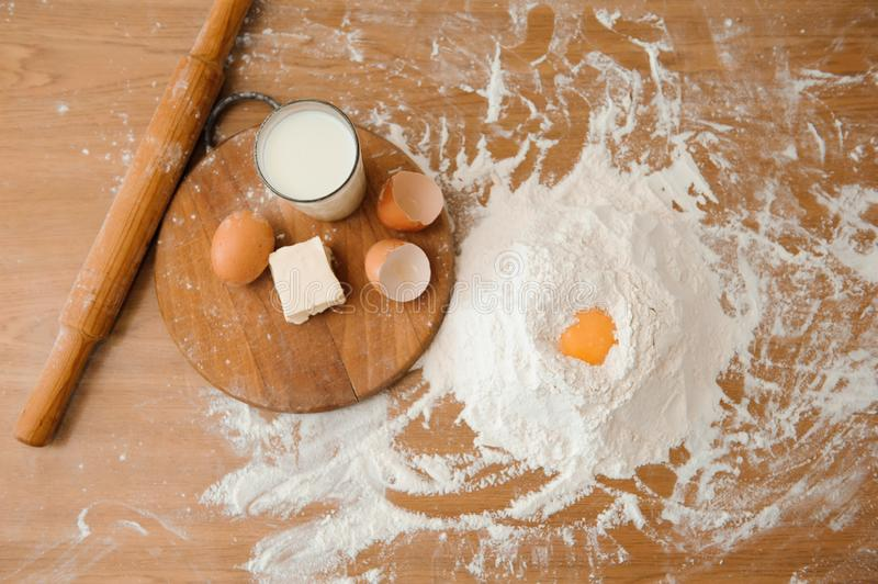 Chef preparing dough - cooking process, work with flour.  royalty free stock photography