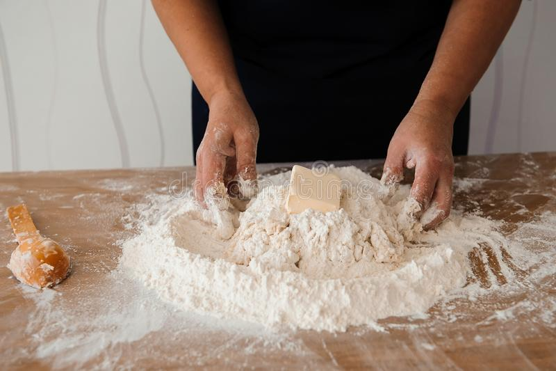 Chef preparing dough - cooking process, work with flour.  stock images