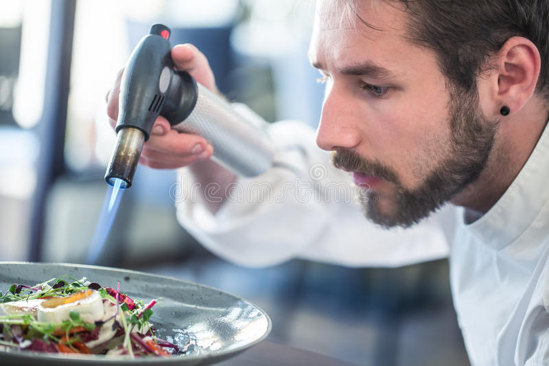 Chef preparing food. Cook flamed using Flambé gun pistol. Chef flambe vegetable salad with goat cheese. Gourmet cuisine.  royalty free stock image