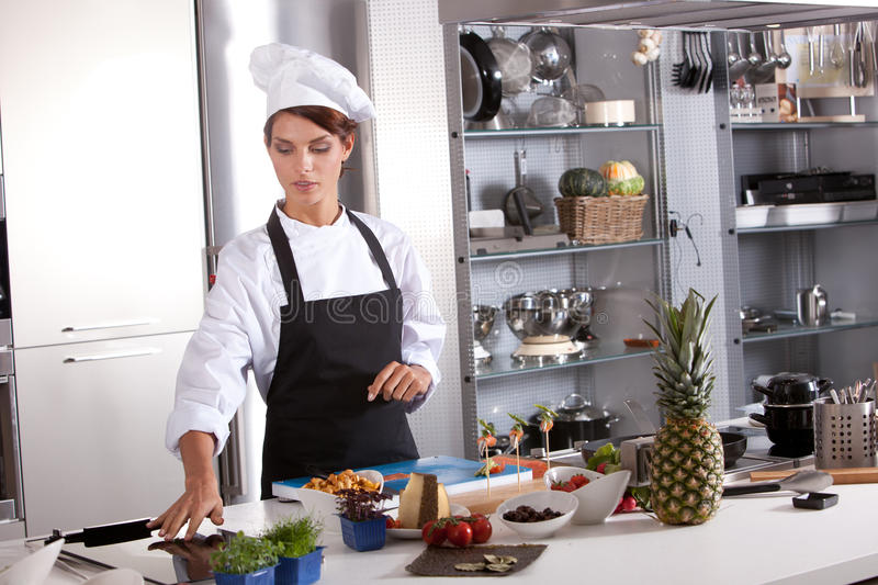 Chef preparing mise en place royalty free stock photography