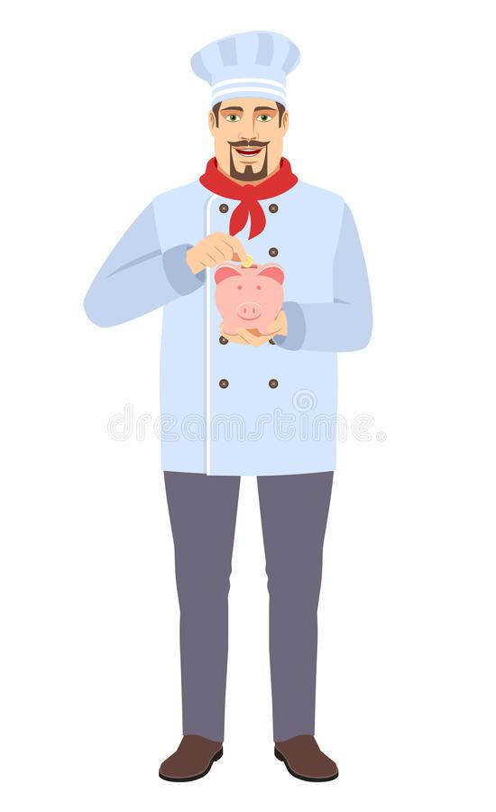 Chef puts coin in a piggy bank royalty free stock photos