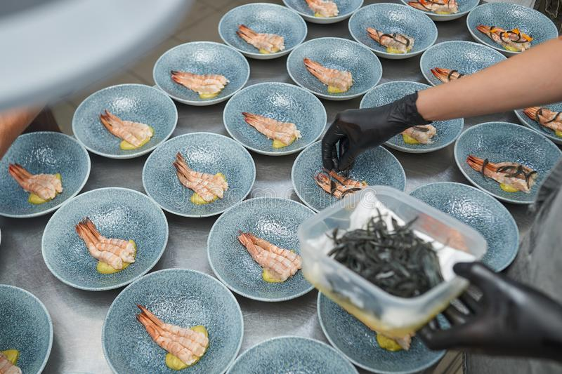 Chef puts shrimp in plates in the kitchen. Chef puts shrimps in many plates in the kitchen in black gloves royalty free stock images