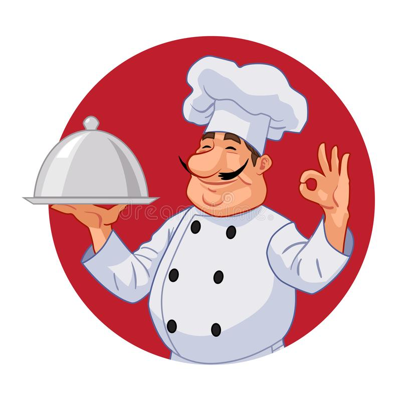 Chef in the red circle. In the red circle, the chef serves a dish stock illustration