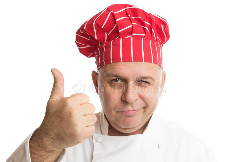Chef with red hat making expressions royalty free stock photography