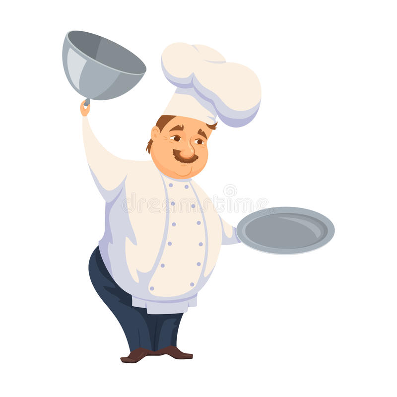 Chef in restaurant. Cute Cook in uniform holding empty dish isolated on white. Cartoon smile kitchener cooking some food and show meal on waiter. Professional royalty free illustration