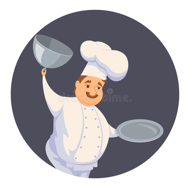 Chef in restaurant. Cute Cook in uniform holding empty dish isolated on white. Cartoon smile kitchener cooking some food and show meal on waiter. Professional stock illustration