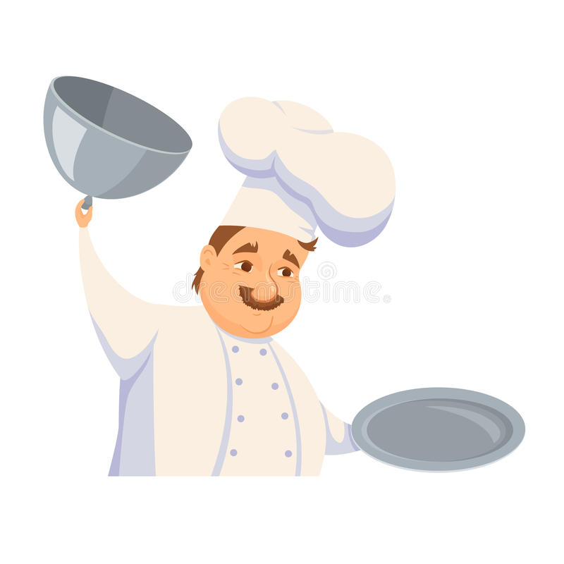 Chef in restaurant. Cute Cook in uniform holding empty dish on white. Cartoon smile kitchener cooking some food and show meal on waiter. Professional master royalty free illustration