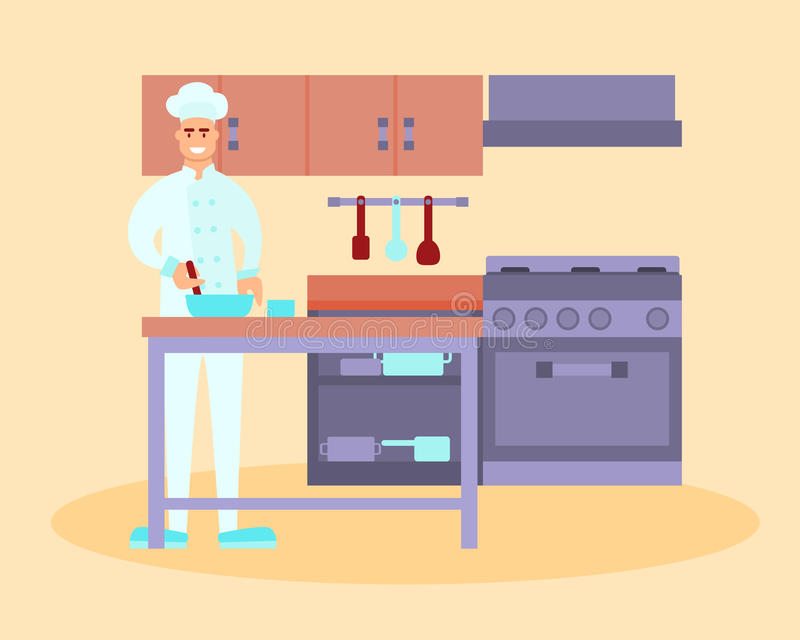 Chef in the restaurant kitchen royalty free illustration