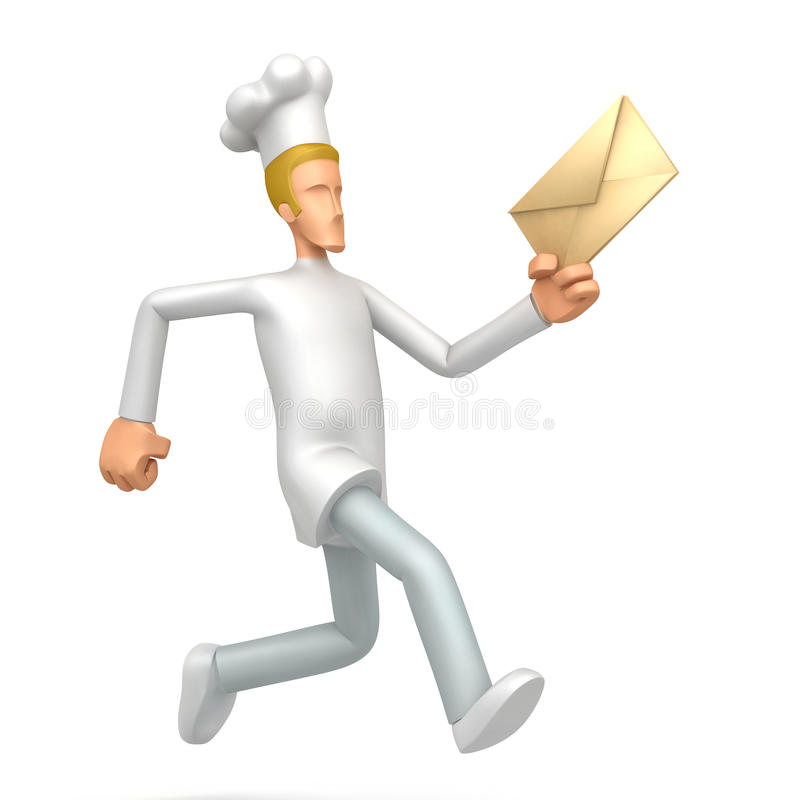 Chef runs with a letter. Illustration of an abstract character on a white background for use in presentations, etc