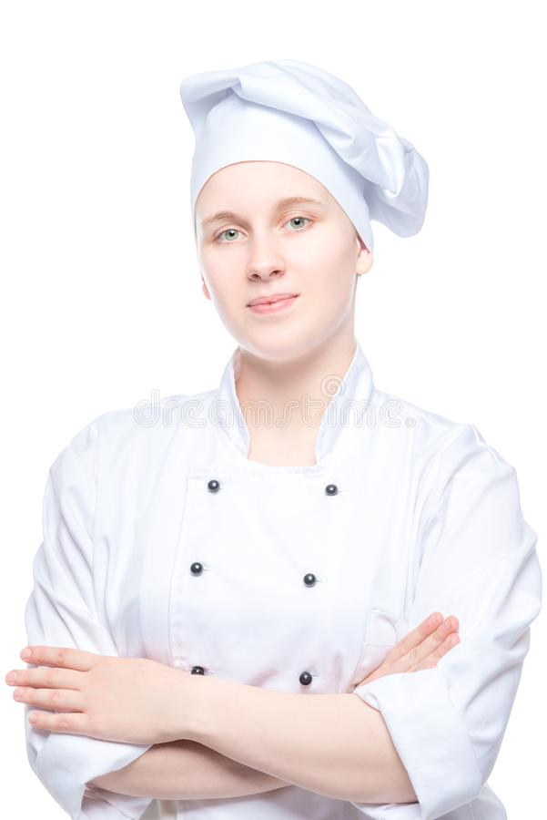 chef sûr de femme en portrait uniforme d'isolement sur le blanc photos stock